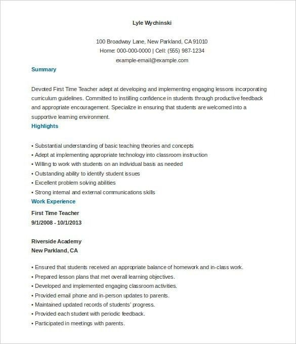 Free Resume Templates For Teachers - Best Resume Collection