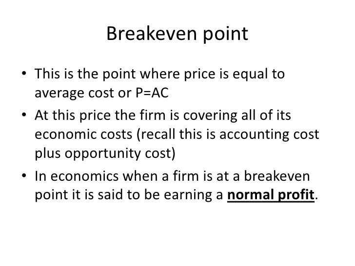 Breakeven and shutdown