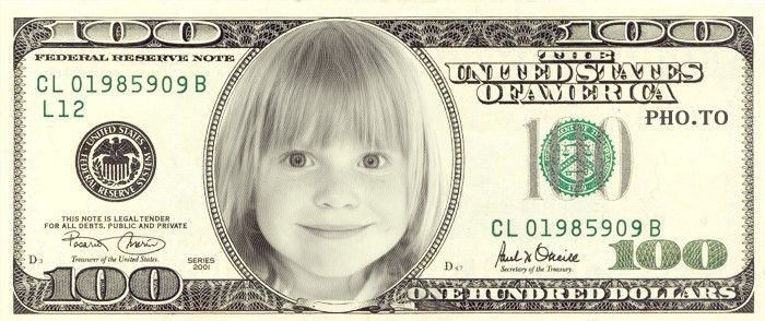 Make fake personalized 100 dollar bill with your face online
