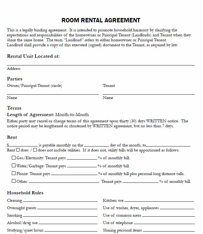 Free Printable Room Rental Agreement - Printable Agreements
