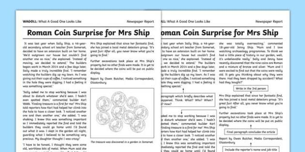 Newspaper Report Writing Sample