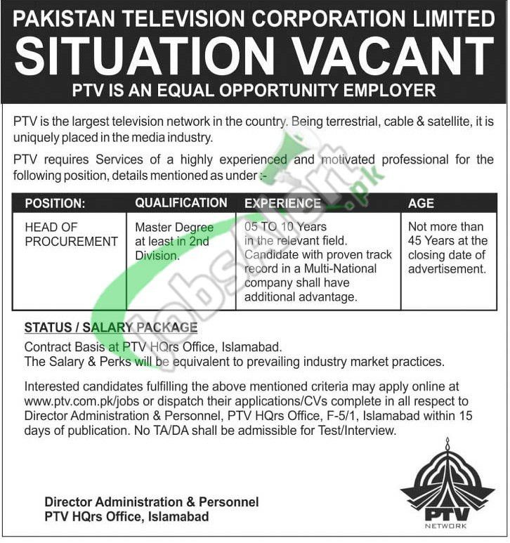 Pakistan Television PTV Jobs December 2015 for Head of Procurement