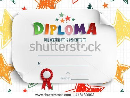 Diploma Template Kids Certificate Background Hand Stock Vector ...