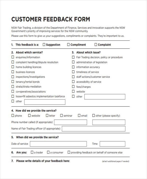 19 Customer Feedback Forms in PDF