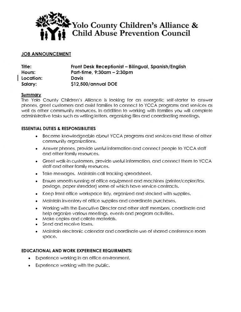 resume for front desk receptionist