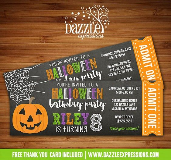 Printable Chalkboard Halloween Party Ticket Birthday Invitation ...