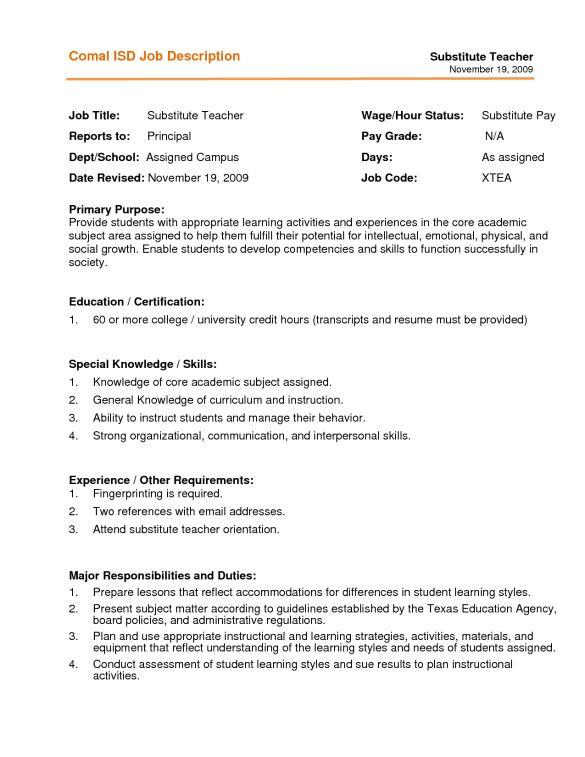 sample resume substitute teacher substitute teacher resume