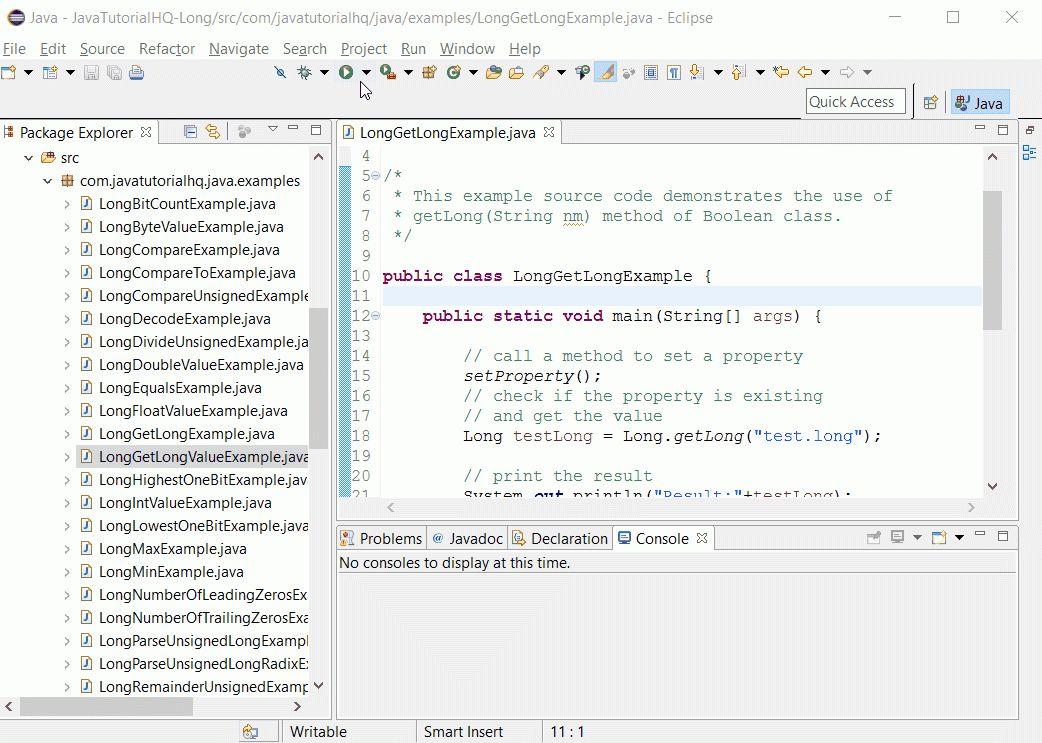 Java long getLong(String nm) method example