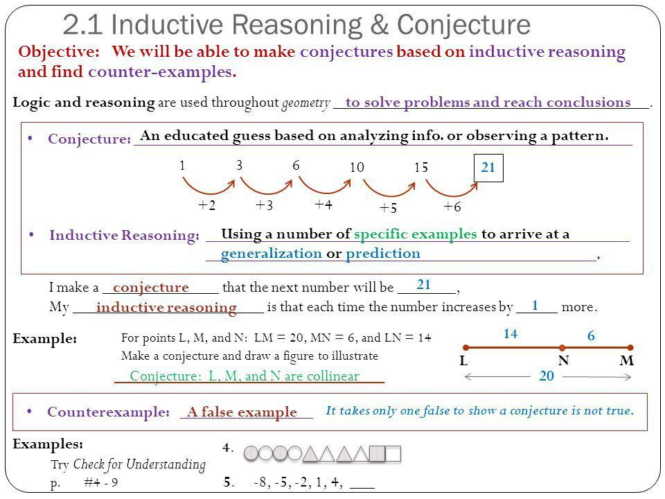2.1 Inductive Reasoning and Conjecture 2.2 Logic 2.3 Conditional ...