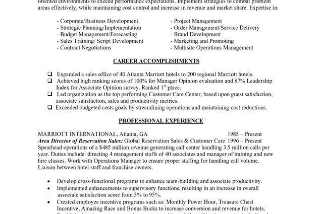 Resume Objectives for Hospitality Industry - Writing Resume Sample ...