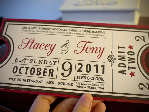 Letterpressed Ticket Invitations by Stacey Baldini in Showcase of ...