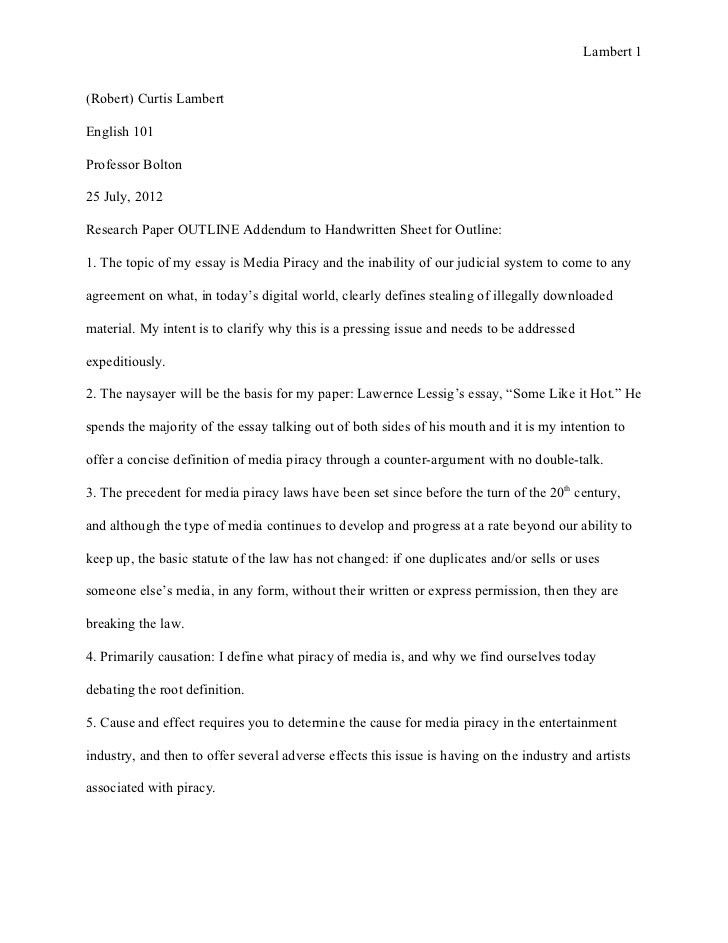 Research paper outline 25 july 2012