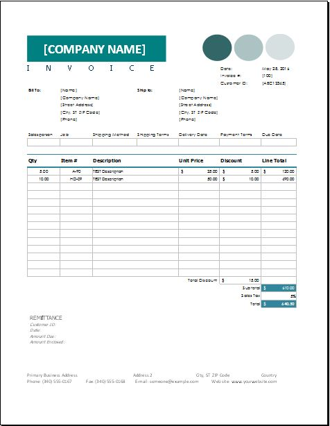 Sales Invoice Template for EXCEL | EXCEL INVOICE TEMPLATES