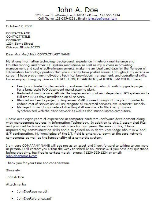 electronic cover letter format