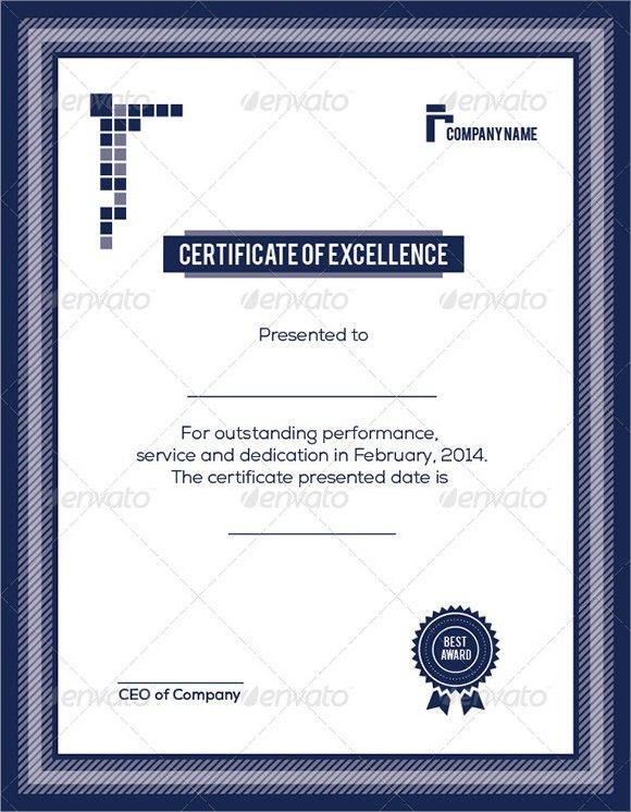 Certificate Of Excellence Template   Sample, Example, Format