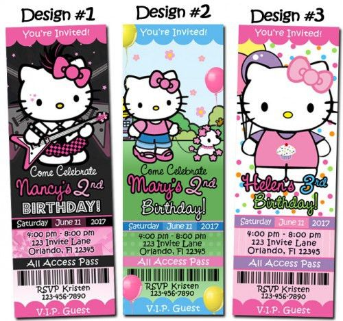 Party Ticket Invitations Art Party Ticket Invitations Paint Party – Personalized Hello Kitty Birthday Invitations