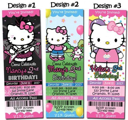 HELLO KITTY BIRTHDAY PARTY INVITATIONS TICKET CUSTOM CHARMMY ...