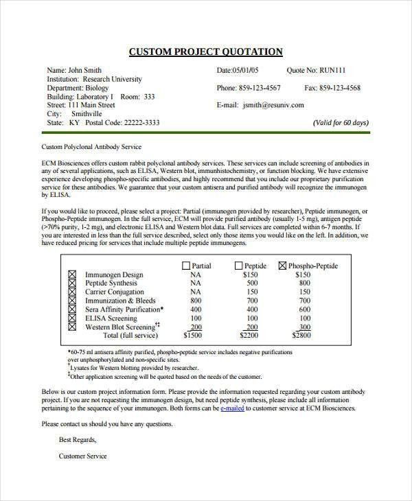 Construction Quotation Templates - 9+ Free Word, PDF Format ...