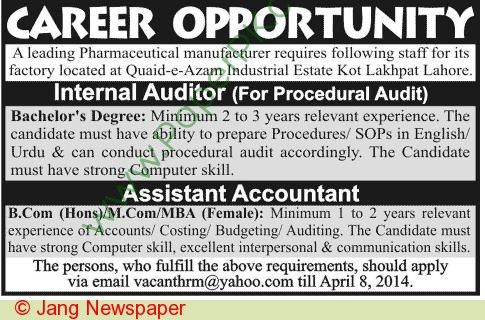 Internal Auditor Assistant Accountant Jobs In Lahore - Jhang Jobs
