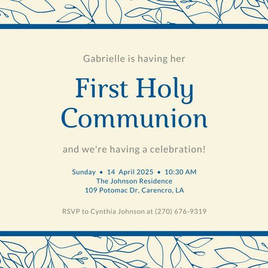 Blue Floral Border First Communion Invitation - Templates by Canva