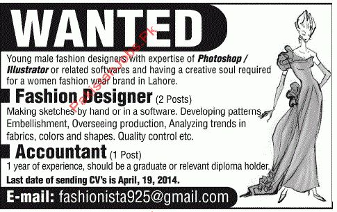 Fashion Designer and Accountant - Others Companies Jobs in Lahore ...