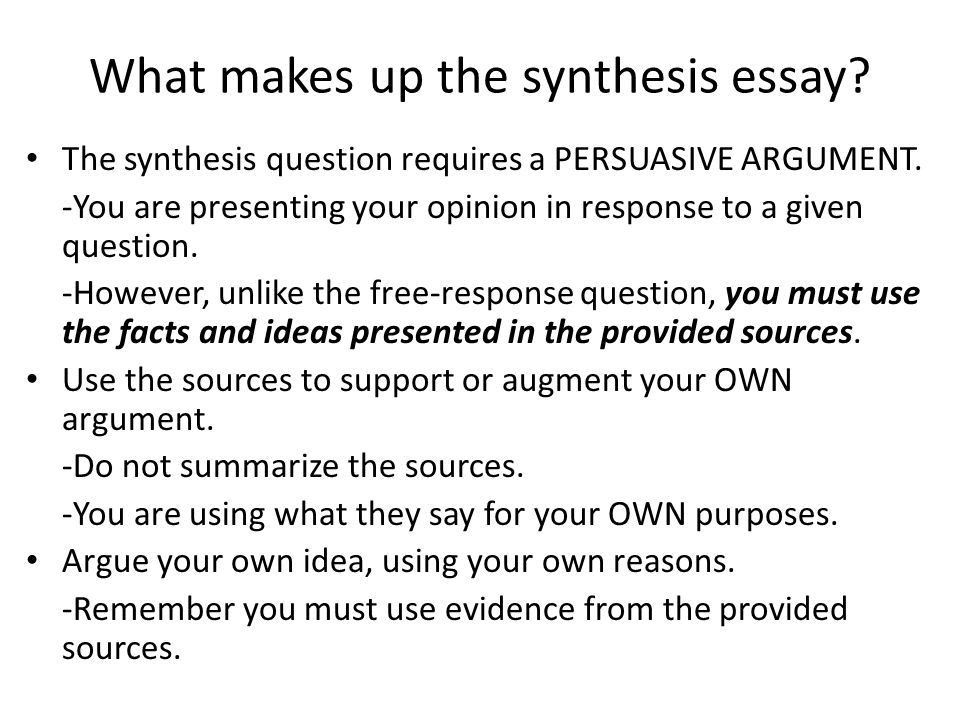 Synthesis Essay Outline and Template. What makes up the synthesis ...