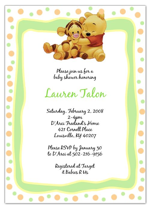 Winnie The Pooh Baby Shower Invitations Templates Free ...