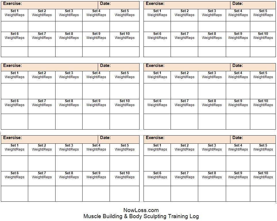 Training Log - Free printable muscle building workout log template