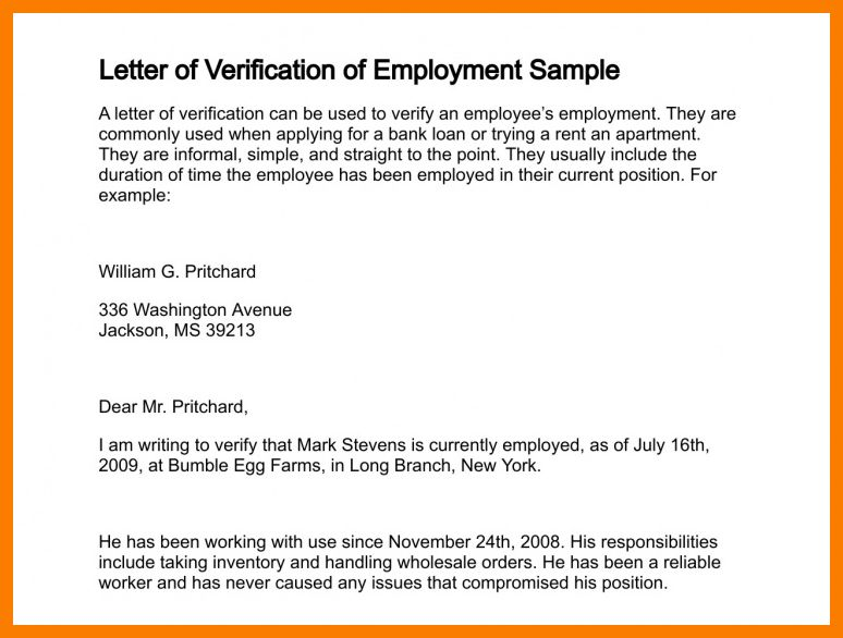 employment confirmation letter. letter of employment verification ...