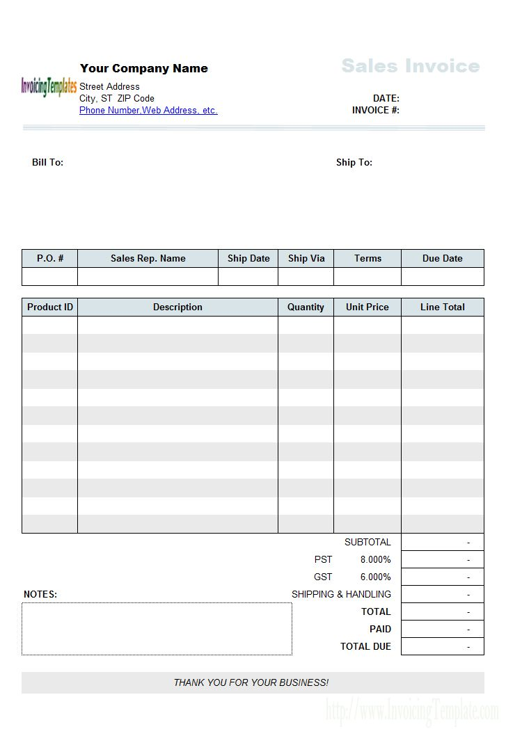Sales Invoice Template with Discount Percentage Column