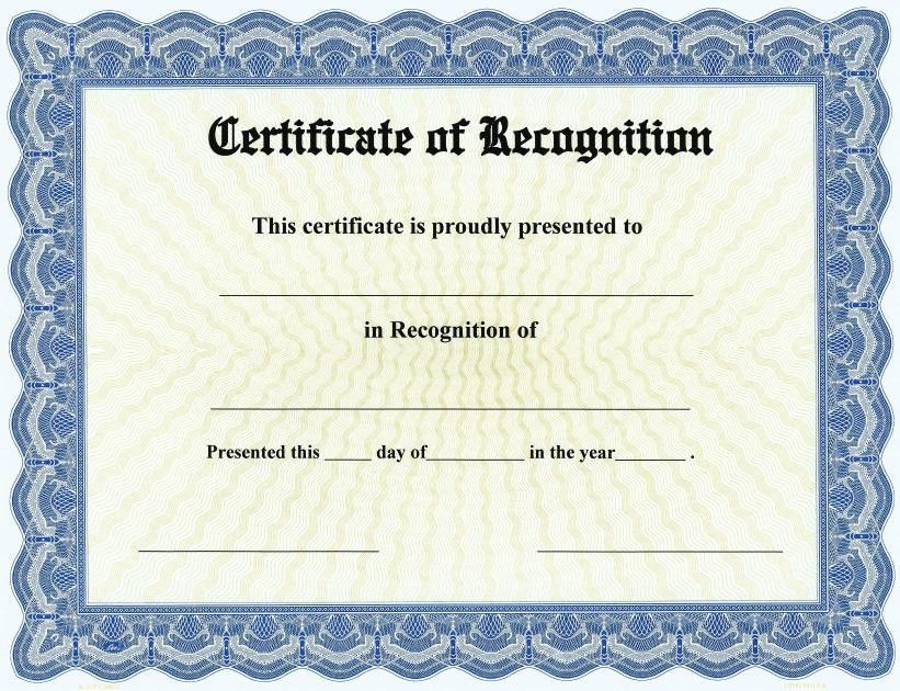Certificate of Recognition – Free Printable Certificates!!