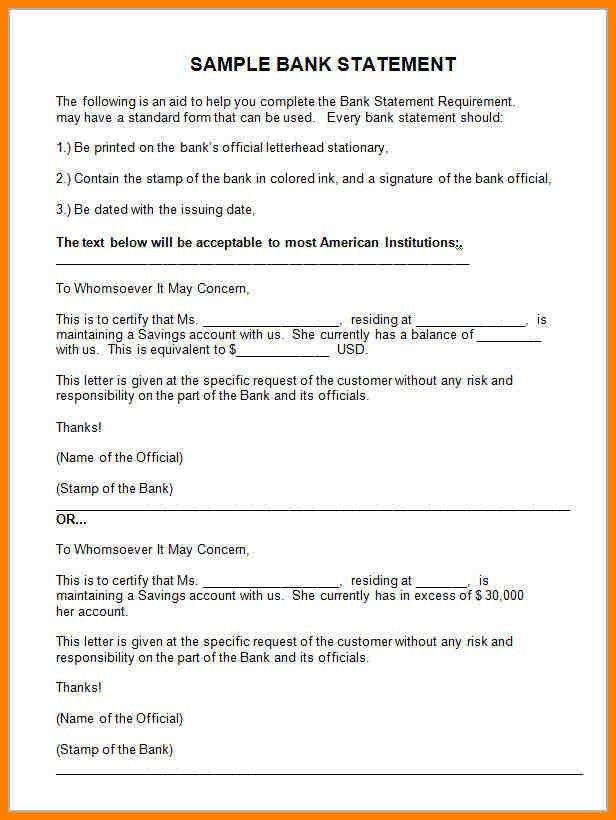 10+ official bank statement sample | resume language