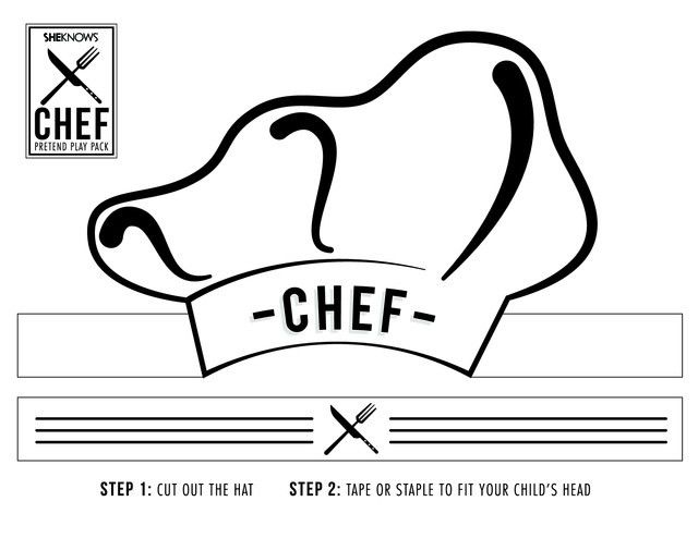Chef hat cutout - Free Printable Coloring Pages