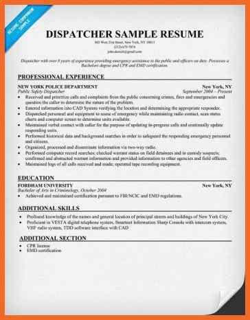 dispatcher resume | sop example