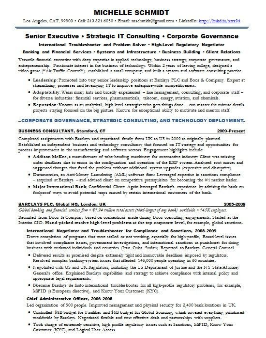 Resume Samples Chief Information Officer CIO Banking -