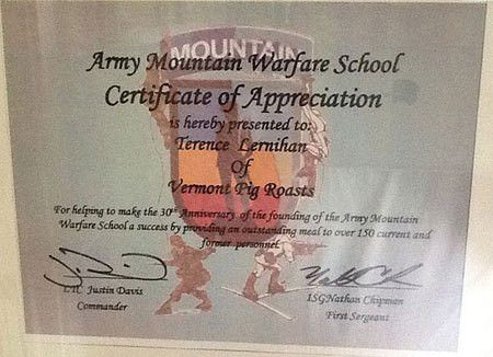 Certificate of Appreciation to Vermont Pig Roasts from the Army ...