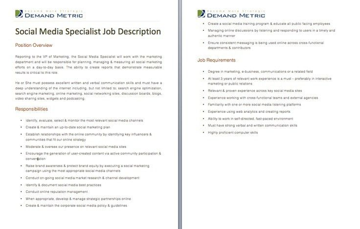 Social Media Specialist Job Description - A template to quickly ...