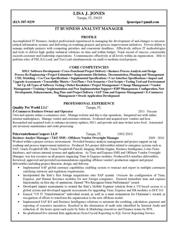 senior business analyst resume samples business systems analyst ...