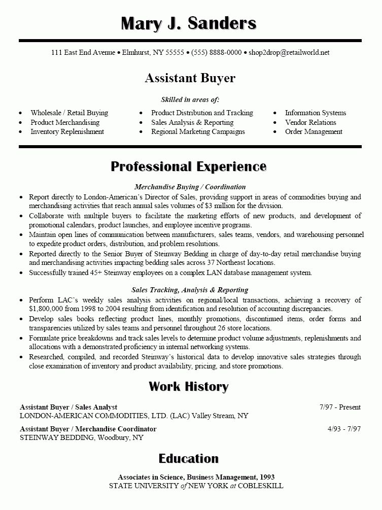 buyer resume sample template example job description key ...