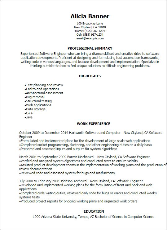 Resume Template For Software Engineer 29839 | Plgsa.org