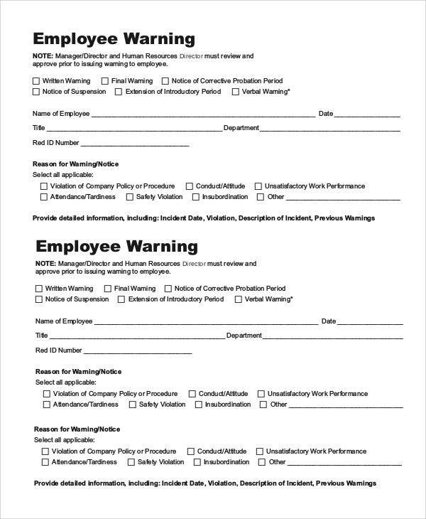 Verbal Warning Template. Final-Warning-Notice-To-Employee Sample ...