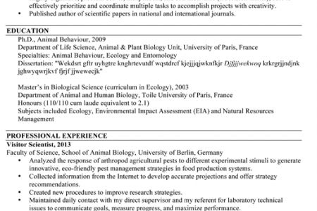 Ecologist Resume Example - Reentrycorps