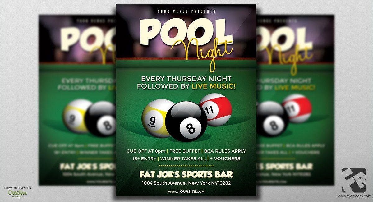 Pool Night Sports Flyer Template | FLYERROOM