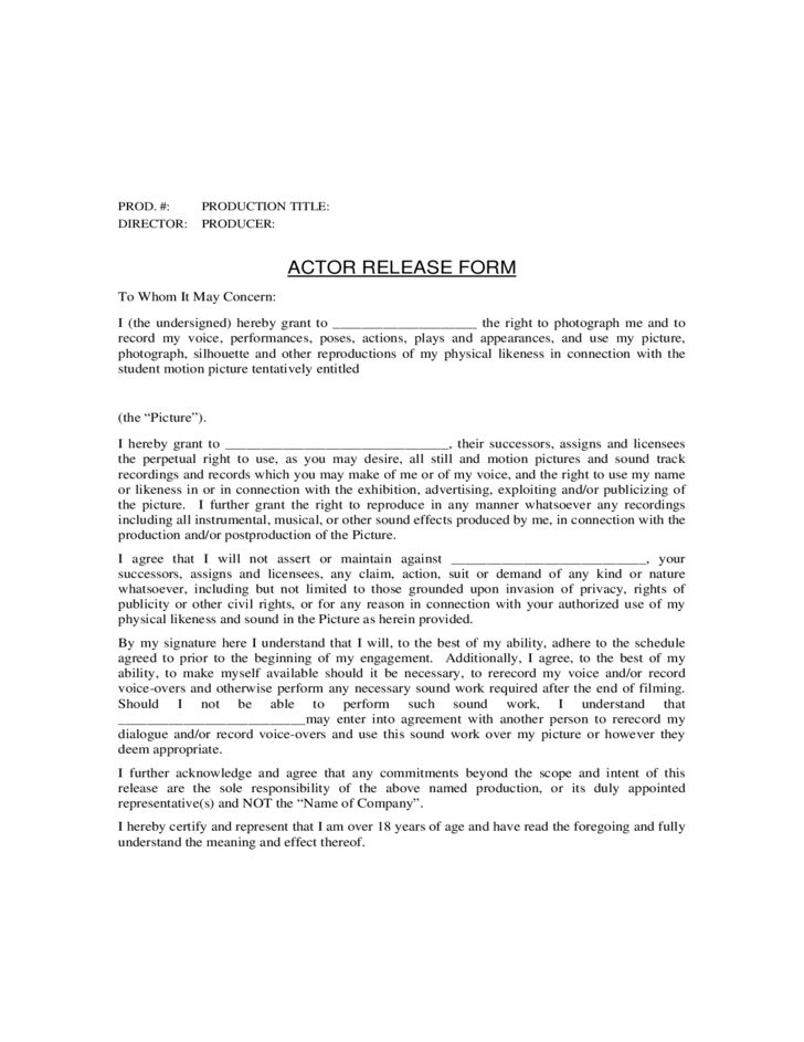 General Actor Release Form Free Download