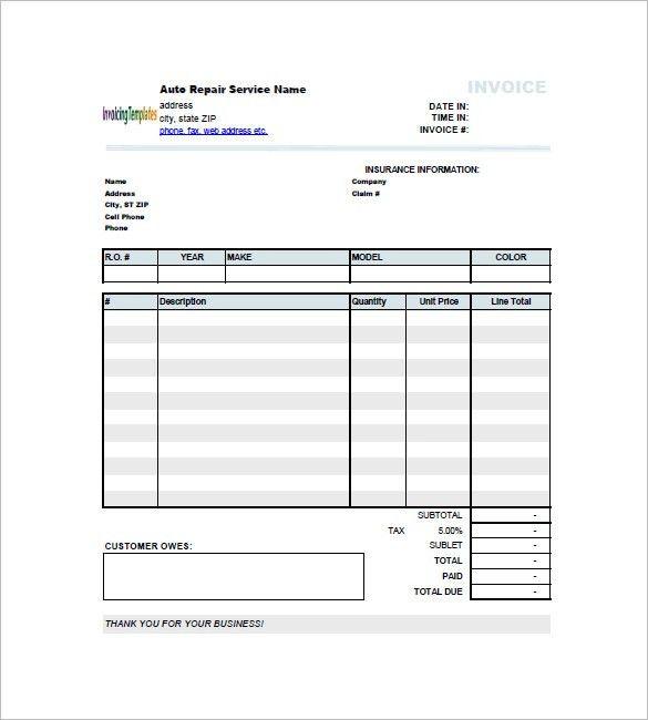 Auto Repair Invoice Templates – 8+ Free Word, Excel, PDF Format ...