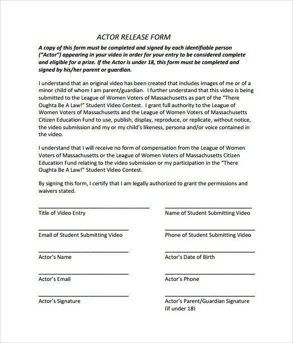 Actor Release Form. Actor Release Form Triple Threat Productions ...