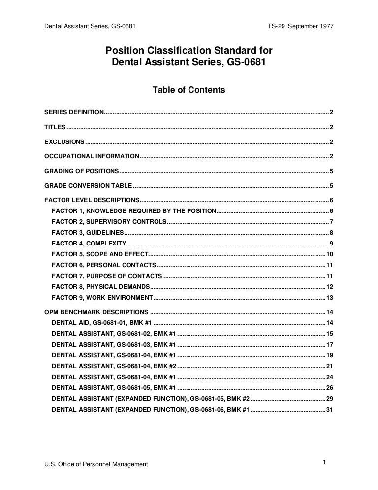Position Classification Standard for Dental Assistant Series ...