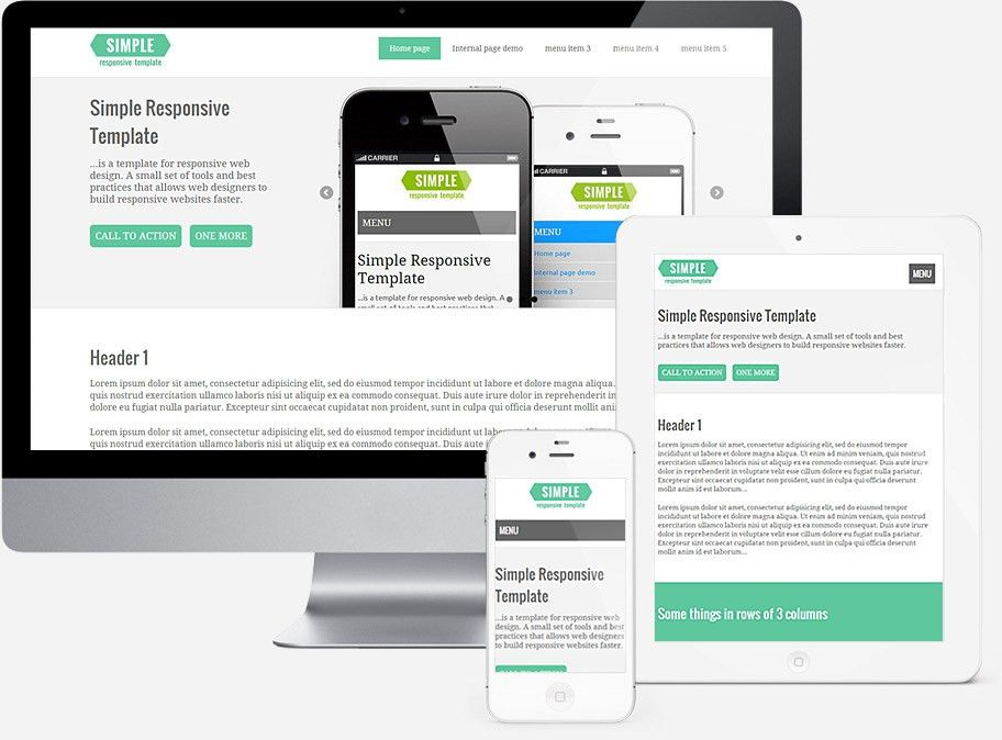 Simple Responsive Template. Template for responsive web design.