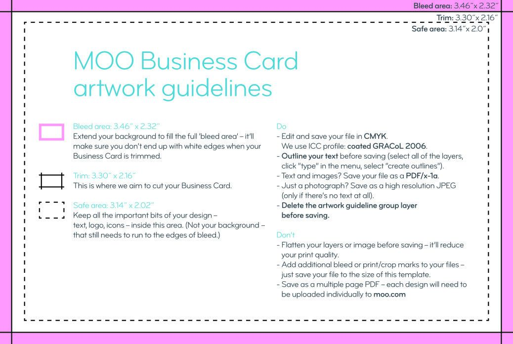 Business Card Design Guidelines & Artwork Templates | MOO