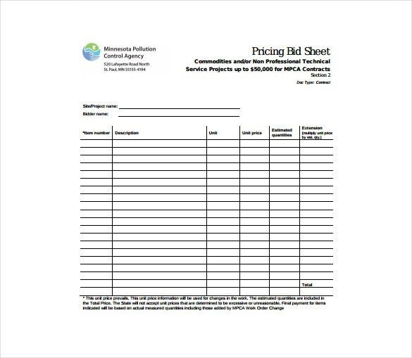 Bid Sheet Templates -11+ Free Sample, Example, Format Download ...